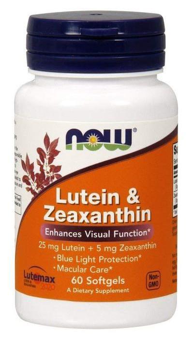 Специальный продукт NOW Lutein  Zeaxanthin 60 капсул (4384301215)