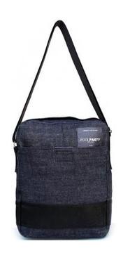 Джинсовая сумка POOLPARTY с ремнем (pool94-black-blue-jeans)