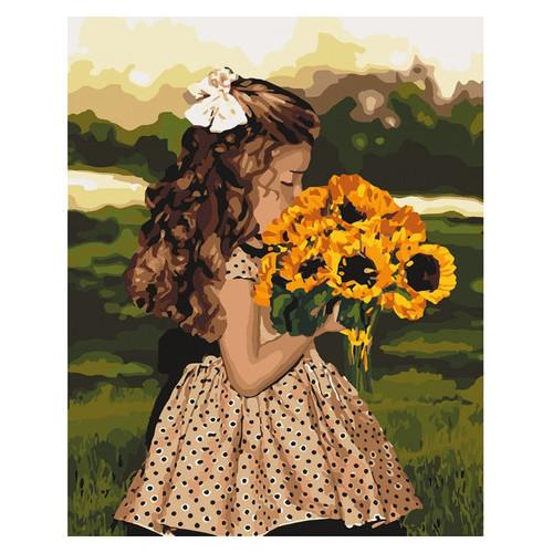 Картина по номерам Идейка Девочка с подсолнухами 40х50 см (KHO4662)