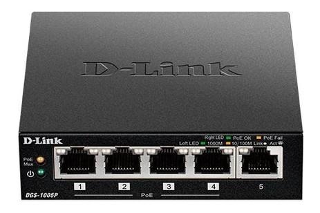 Коммутатор D-Link DGS-1005P 5xGE