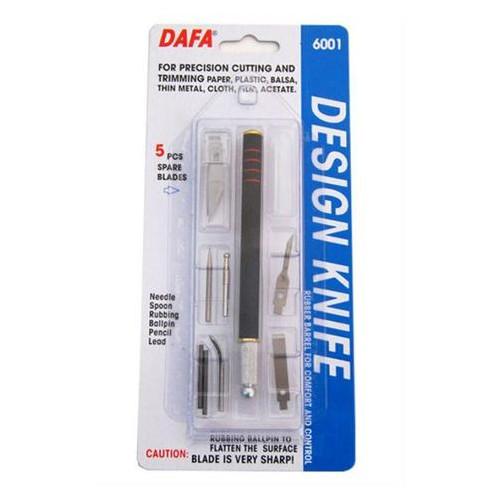 Нож макетный Dafa 6001 пластиковая ручка 5 сменных лезвий 7 насадок (9416006001)