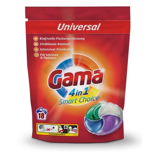 Гель-капсулы для стирки белья Gama 4в1 Универсальные, 18 шт 826965