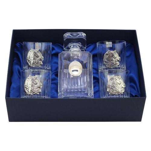 Сет для виски Boss Crystal ГОД БЫКА, графин, 4 стакана, серебро