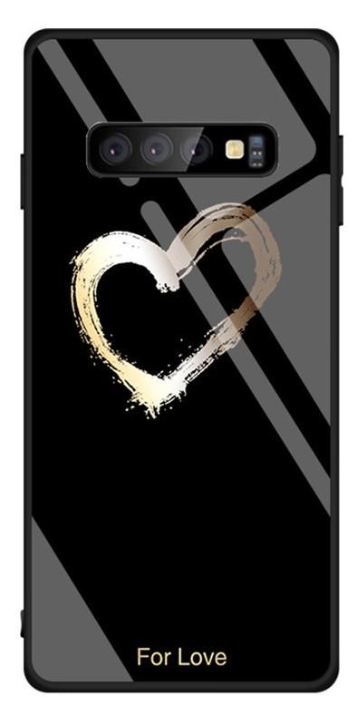 Чехол-накладка Toto Glass Case Fashionable Samsung Galaxy S10 Heart on Black