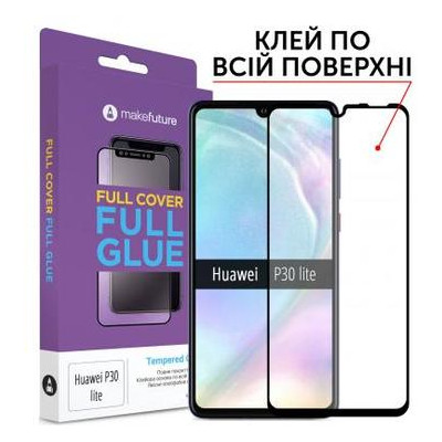 Стекло защитное MakeFuture для Huawei P30 Lite Black Full Cover Full Glue (MGF-HUP30L)