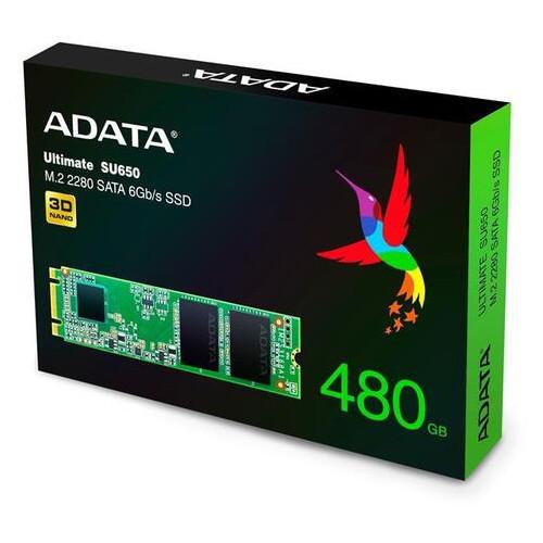 Твердотельный накопитель SSD A-Data Sata M.2 480GB SU650 2280 3D TLC (JN63ASU650NS38-480GT-C)