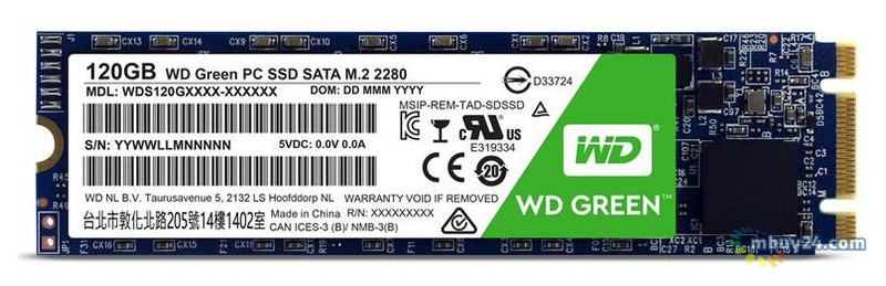 SSD накопитель Western Digital Green M.2 120 GB (WDS120G2G0B)