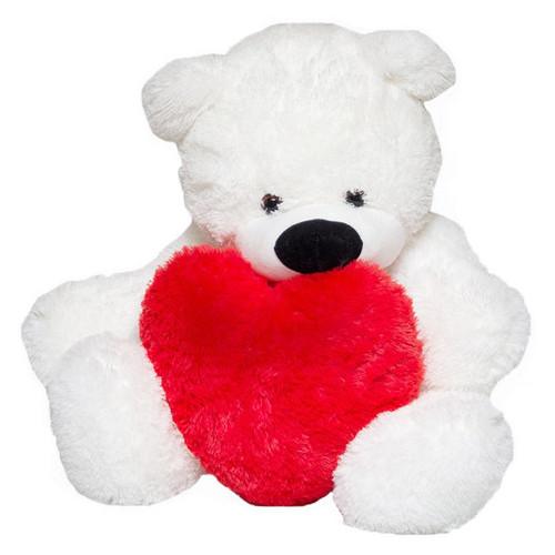 Медведь Бублик Алина белый 110 см с сердцем 40см