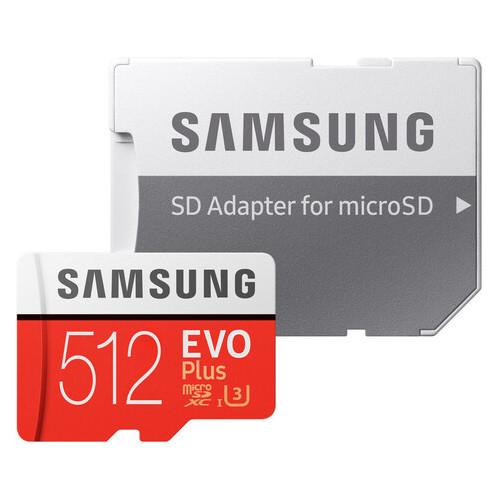 Карта памяти Samsung 512GB microSDXC C10 UHS-I U3 R100/W90MB/s Evo Plus V2 + SD адаптер (JN63MB-MC512HA/RU)