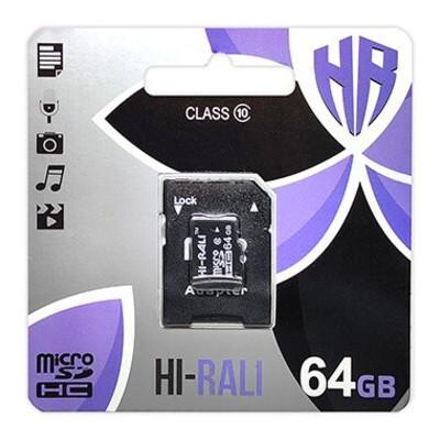 Карта памяти MicroSDXC 64GB Class 10 Hi-Rali + SD-adapter (HI-64GBSDCXCL10-01)