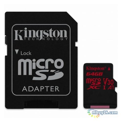 Карта памяти Kingston 64 GB microSDXC class 10 UHS-I U3 Canvas React + SD Adapter (SDCR/64GB)