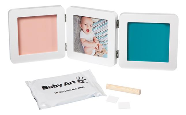 Набор для создания отпечатка ручки и ножки малыша Baby Art Тройная рамка Бело-серая (3601097200)