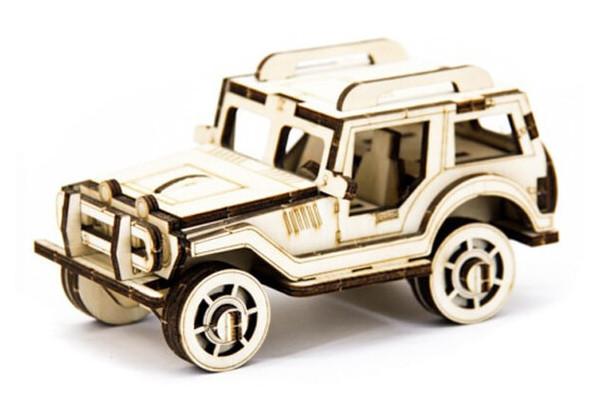 Механический деревянный 3D пазл SUNROZ Автомобиль Джип 45 эл.