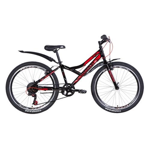 Велосипед 24 Discovery FLINT 2021 черно-красный с серым (OPS-DIS-24-225)