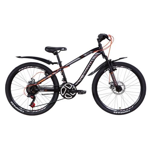 Велосипед 24 Discovery FLINT AM DD 2021 черно-серый с оранжевым (OPS-DIS-24-242)