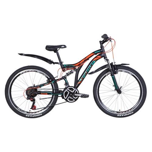 Велосипед 24 Discovery ROCKET 2021 черно-оранжевый с бирюзовым (OPS-DIS-24-249)