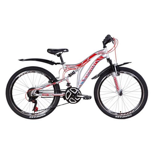Велосипед 24 Discovery ROCKET 2021 серебристо-красный с синим (OPS-DIS-24-250)