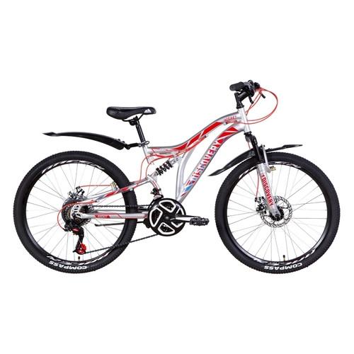 Велосипед 24 Discovery ROCKET DD 2021 серебристо-красный с синим (OPS-DIS-24-254)