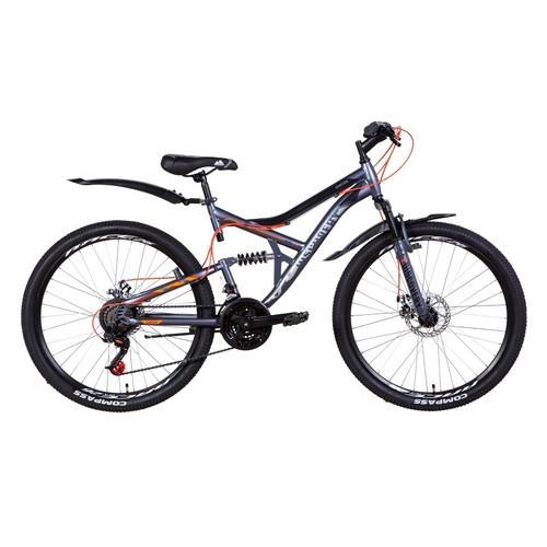 Велосипед 26 Discovery CANYON DD 2021 графитово-черный с оранжевым (OPS-DIS-26-353)