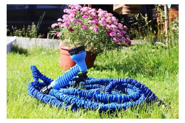 Садовый увеличивающийся поливочный шланг X-hose 30 м 100FT steel с распылителем для полива (М6907)