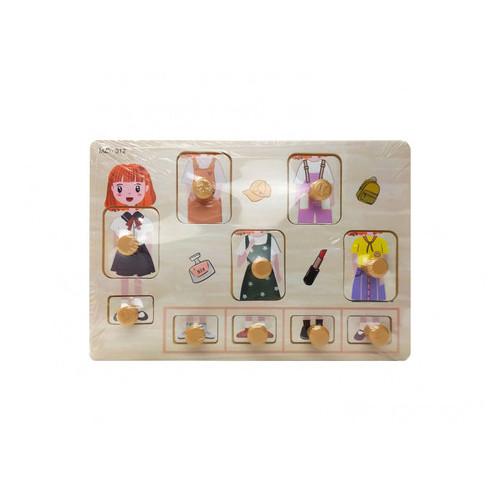 Деревянная игрушка Рамка-вкладыш Девочка (MD 2384-012)