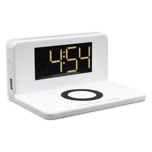Беспроводное зарядное устройство Qitech Alarm Clock Wireless Charger 3в1 часы будильник с подсветкой белое