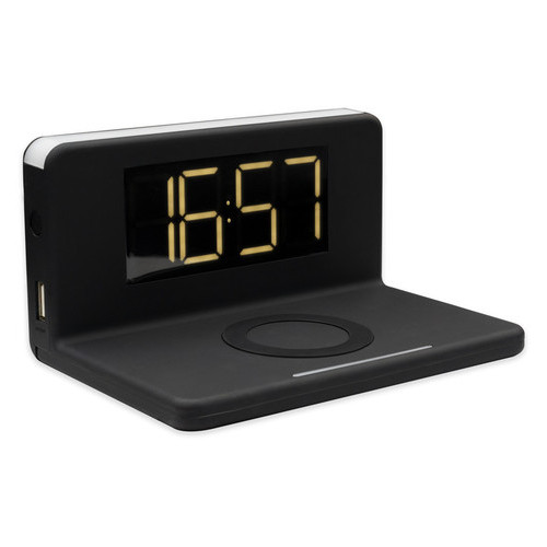 Беспроводное зарядное устройство Qitech Alarm Clock Wireless Charger 3в1 часы будильник с подсветкой черное