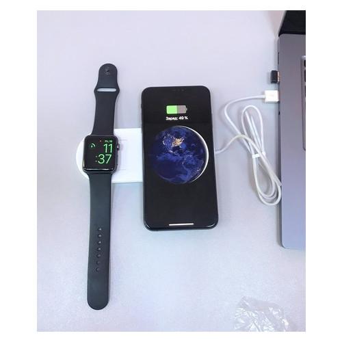 Беспроводное зарядное устройство UTG-T Charger Wireless 2 в 1 с технологией QI для iPhone, Apple Watch (qww07)