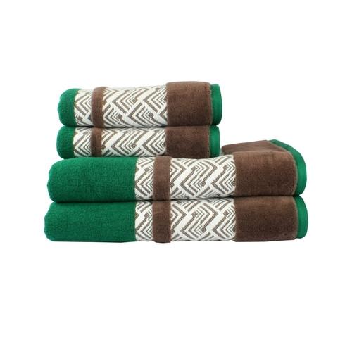 Полотенце Hobby NAZENDE 70*140 зеленый/коричневый 560г/м2 (313736)