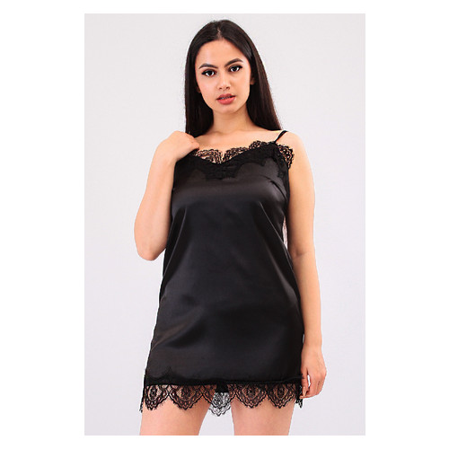 Комплект Эмилия Ghazel 17111-52 Размер 44 серый халат/черный пеньюар