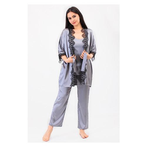 Комплект Мелания Ghazel 17111-63 Размер 48 серый халат/серый комплект