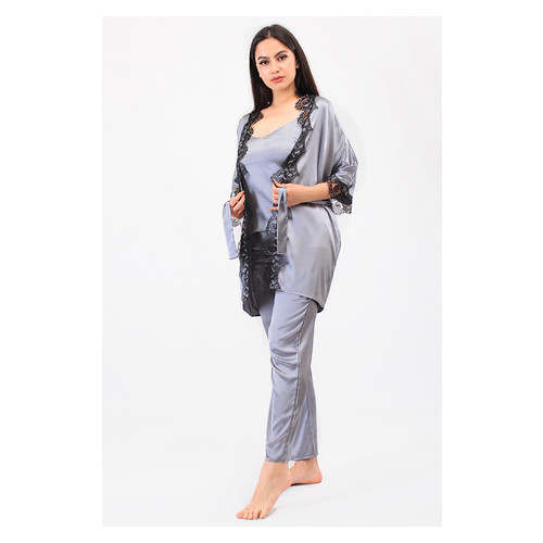 Комплект Мелания большие размеры Ghazel 17111-63/8 Размер 52 серый халат/серый комплект