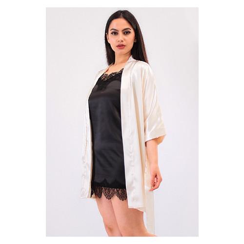 Комплект Лиана большие размеры Ghazel 17111-56/8 Размер 50 кремовый халат/черный пеньюар