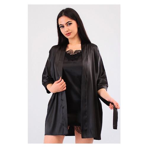 Комплект Лиана Ghazel 17111-56 Размер 42 черный халат/черный пеньюар