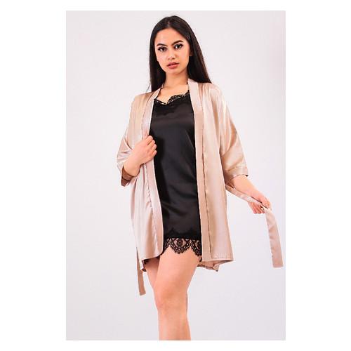 Комплект Лиана большие размеры Ghazel 17111-56/8 Размер 48 натуральный халат/черный комплект