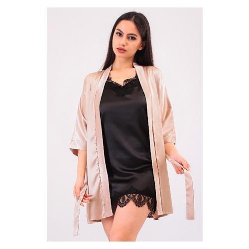 Комплект Лиана Ghazel 17111-56 Размер 44 натуральный халат/черный комплект