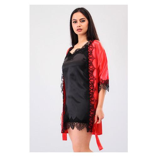 Комплект Милада большие размеры Ghazel 17111-57/8 Размер 50 красный халат/черный пеньюар