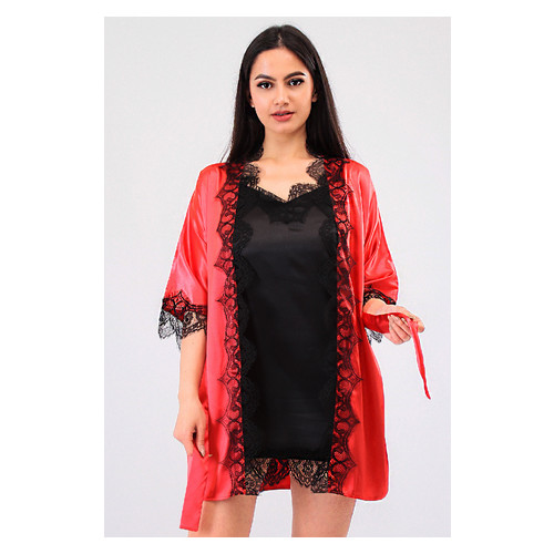 Комплект Милада Ghazel 17111-57 Размер 42 красный халат/черный пеньюар