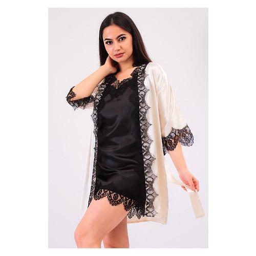 Комплект Милада большие размеры Ghazel 17111-57/8 Размер 48 кремовый халат/черный пеньюар
