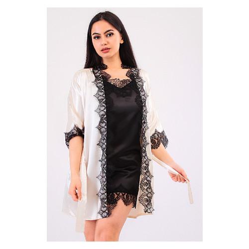 Комплект Милада Ghazel 17111-57 Размер 46 кремовый халат/черный пеньюар