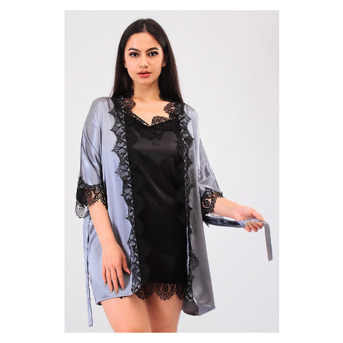 Комплект Милада Ghazel 17111-57 Размер 46 серый халат/черный пеньюар