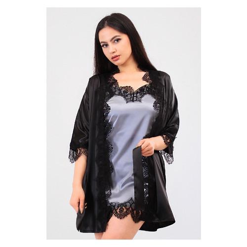 Комплект Милада Ghazel 17111-57 Размер 42 черный халат/серый пеньюар