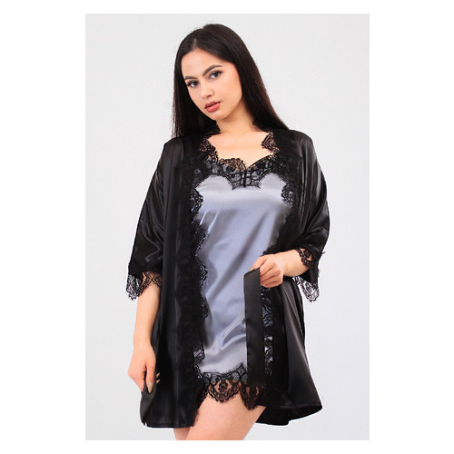 Комплект Милада Ghazel 17111-57 Размер 46 черный халат/серый пеньюар
