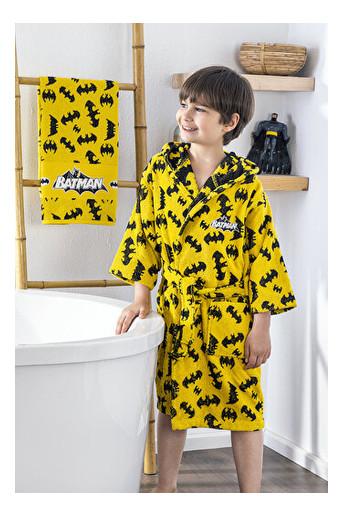 Набор халат с полотенцем Ozdilek Batman 7-8 лет желтый (8697353478185)