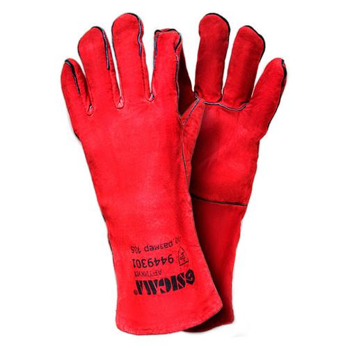 Перчатки Sigma краги сварщика р10.5 класс С длина 35м (красные) (9449301)
