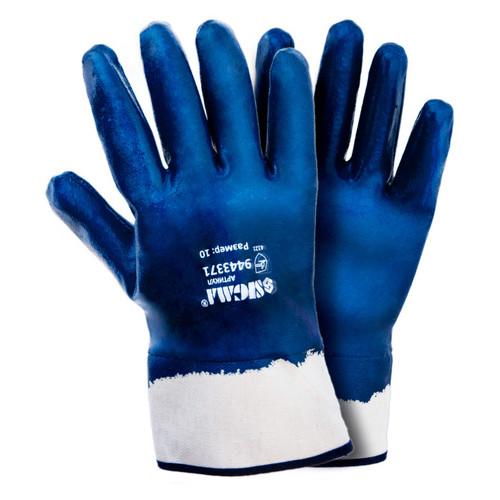 Перчатки Sigma трикотажные с полным нитриловым покрытием р10 (синие краги) 120пар (9443371)