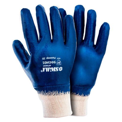 Перчатки Sigma трикотажные с полным нитриловым покрытием р10 (синие манжет) (9443401)