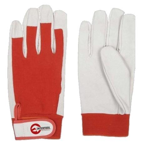 Перчатки кожаные комбинированные Intertool SP-0012