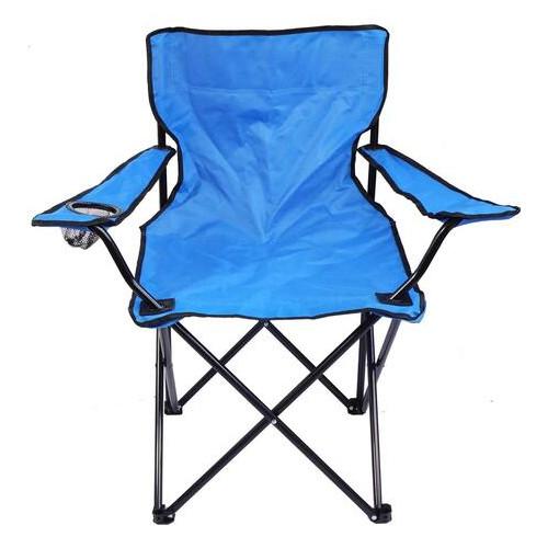 Стул туристический раскладной с подстаканником голубой