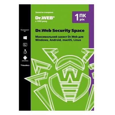 Антивирус Dr. Web Security Space 1 ПК/1 год (Версия 12.0). Картонный конверт (KHW-B-12M-1-A2)